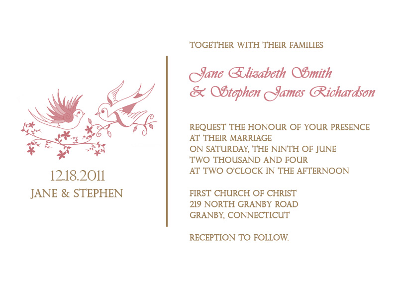 Wedding Invitation Template - Love Birds