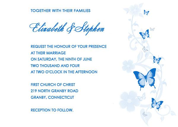 Blue Erflies Wedding Invitation Template